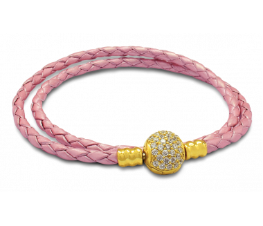 ENCHANTED LEATHER BRACELET (PINK)